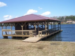 beautiful boat house built by Vines Piers, Inc.